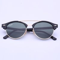 Wholesale Woman Black Club - Newest Brand Club Sunglasses Round Men Sun Glasses Women Outdoor Retro clubround Double Bridge Sunglass carfia Gafas de sol 51mm case