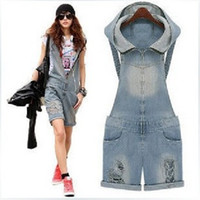Wholesale Short Demin - Hot Sale Summer Women Demin Shorts Fashion Women Jumpsuits 2016 Halter Neck Backless Shorts Fashion Jumpsuits with hooded