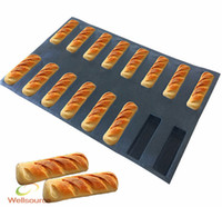 Wholesale Mini Loaf - 16-Cavity Mini Loaf Silicone Mold Narrow Rectangle Silicone Baking Mold Non Stick Perforated Baking Liners Cake Bread Loaf Pan