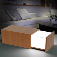 Wholesale Pandora Wood - Pandora magic Box Wood Lamp with bluetooth mini Speaker Wooden Secret Box Drawer speaker adjustable Touch night light table Lamp