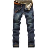 Wholesale Hot Cotton Capris - Wholesale-Classic Hot Sale Stright Cotton Fashion Comfortable Washed MensJeans
