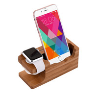Wholesale Iphone Dock Support - Bamboo Wood Charging Stand Charger Dock Station Holder for iPhone 7 7Plus 6 6Plus 5 5s Support Apple Watch docking   38 42mm