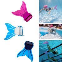 Wholesale Mermaid Mascot Costumes - Cute Kid Children Mermaid mascot costume Swim Fin Diving Monofin Swimming Foot Flipper Pink   Green   Blue