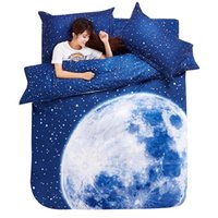 Wholesale Moon Stars Bedding Sets - Wholesale-Thick 3D bedding set King size beddings and bed sets duvet cover set with bed sheet bedclothes Moon Star Galaxy space nasa
