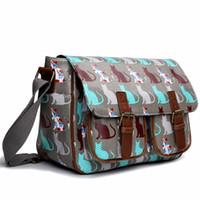 Wholesale A4 Messenger Bags - Wholesale-Miss Lulu Women Men Girls Boys Cat Matte Oilcloth Waterproof Large A4 Book Pad School College Cross Body Satchel Messenger Bag