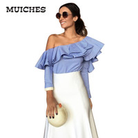 Wholesale Rivet Cross Blouse - One shoulder ruffles blouse shirt women tops 2016 autumn Casual blue striped shirt Long sleeve cool blouse winter blusas shirts for women