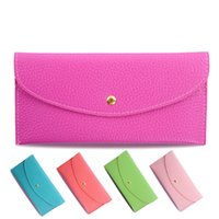 Wholesale Candy Color Envelope - 2017 Fashion Candy Color Lady Wallets PU Leather Credit Card Tote Envelope Clutch Bags For Women Wallet Purse Coin bag Pouch DHL