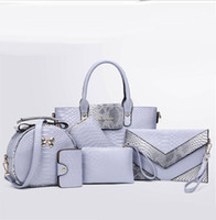 Wholesale European Style Women Suit - 2017 new fashion Lash bag 6pcs set women handbag shoulder suit bag fashion snake crocodile big bag Clutch Bags