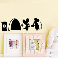 Wholesale mouse wall stickers - 500pcs Cartoon Removable Toilet stickers Cute Lovers Black little mouse Socket Switch Wall Sticker PVC Decal Home Decor WA1837