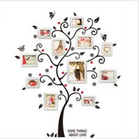 décalcomanies de fleurs noires pour mur achat en gros de-Nouveau Chic Noir Famille Cadre Photo Arbre Papillon Fleur Coeur Sticker Mural Salon Décor De Chambre Stickers