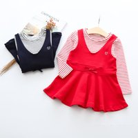 Wholesale Wholesale Beaded Top Clothes - Girls princess dresses children stripe long sleeve cotton tops suspender bear Beaded bows V-collar dress kids new Autumn clothes G0298