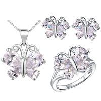 Wholesale Custom Jade Pendants - America Zirconium 925 Silver pendant Earrings ring Women Gift Plated with of custom pendant ring ring with a of Jade Butter
