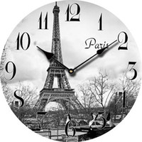 Wholesale Large Eiffel Tower - Wholesale-Europe Paris Eiffel Tower Cheap Wall Clock Decor Retro Large Decorative Modern Wall Clock Vintage French Antique Wood Clock