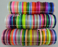 Wholesale Ribbon 6mm - wholesale-1 4''(6mm) single face satin ribbon polyester ribbon 10roll(25yaard roll) 120 colors can option