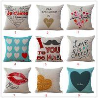 Wholesale Wholesale Valentine Pillows - Wholesale- 1 Piece Square Waist Throw Pillow Case Cotton Cushion Linen Cover Home Decorative Valentine Lover Gift