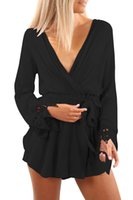 Wholesale Neck Wrist Cuffs - CRYG Autumn Fashion Sexy Black Pink V Neck Lace Wrist Cuff Romper Hollow Out Regular Club Playsuits Short Jumpsuits