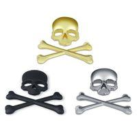 Wholesale Decal Labels - Metal 3D 3M Skull Metal Skeleton Crossbones Car Motorcycle Sticker Label Skull Emblem Badge car styling stickers accessories decal
