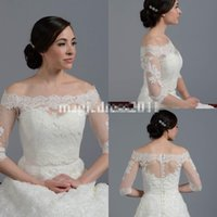 Wholesale Long Sleeve Dress Shawl - Lace Sheer Off Shoulder 2015 Jackets Bridal Wraps Shawl Bolero Shrugs Stole Cloak Caps Half Sleeve Tulle Bridesmaid Wedding Dress Wrap FJ012