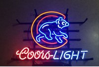Wholesale Coors Light Neon Beer Signs - New Handcraft Coors Light Chicago Cubs Real Glass Tubes Beer Bar Pub Display neon sign 19x15!!!Best Offer!