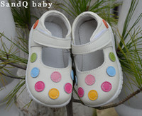Wholesale Mary Jane Shoes For Girls - Wholesale- 100% leather shoes soft baby kids white mary jane with multicolored polka dots classic for little girls children cute