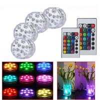led con pilas rgb al por mayor-Lámpara sumergible RGB LED IP65 Luz con pilas Multicolor Cambio de luces subacuáticas para piscina con control remoto para banquete de boda