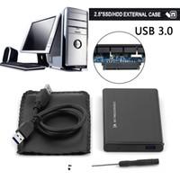 usb sdd sata kablosu toptan satış-Toptan Satış - 2.5in Harici HDD SSD USB 3.0 Sabit Disk Disk Mobil Harici Muhafaza Kutusu Fırçalanmış Metal Kasa W / USB Kablo Vidaları Süper Hız