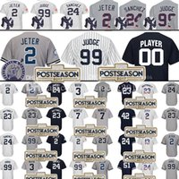 Wholesale Grey Baseball Jerseys - 99 Aaron Judge 2 Derek Jeter Baseball Jersey 24 Gary Sanchez 23 Don Mattingly 3 Babe Ruth 7 Mickey Mantle Mariano Rivera Jerseys