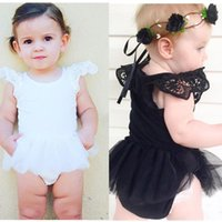 Wholesale white one piece romper for sale – dress Ins Baby Lace Romper Infant Toddle Fly Sleeve One piece set Baby onesies Climbing Clothes Kids jumpsuits Children Clothing