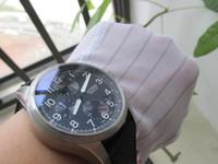 kuvars tacı toptan satış-Yüksek kalite erkekler İzle 41mm chronograph chrono çalışma JAPONYA kuvars BÜYÜK TAW PRO PILOT izle kol saati
