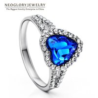 Wholesale Neoglory Heart Love Crystal Austrian Rhinestone Wedding Finger Ring for Women Fashion Jewelry New He1 He b