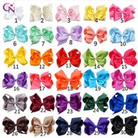 Wholesale Pink Centres - 6 Inch Hair Bow Knitted Centre Baby Ribbon Bow Hairpin Clips Girl Bow knot With Clip