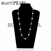 Wholesale Coin Freshwater Pearl Necklaces Jewelry - Women Pearl Jewelry Handmade Coin 11-12mm White Freshwater Pearls Link Chain Necklace