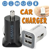USAMS USB Car Charger Universal USB Dual USB 5V 3.1A Car Chargers Adapter para iPhone X 8 7 Plus 6 6S 5 5S iPad iTouch HTC Samsung Note 8 LG