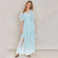 Wholesale Summer Cotton Short Sleeve Dresses - Short Sleeve Evening Party Solid Color Summer Dress Free Long Cotton Dresses Women Plus Size Vestidos Mujer Casual Dress 60A0092