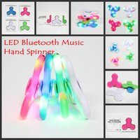Wholesale Wholesale Music Box For Kids - Wholesale LED bluetooth music Fidget Spinner with retail box led Hand Spinner Tri Fidget EDC Rotate spinner For Killing Time For Kids Adults