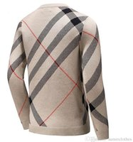 Wholesale Top Brand Wool Sweaters - Top Brand Wool Warm Strip Men Sweaters Big Plaid khaki Classic Famous Long Shirts Man Sweater Fashion Luxury Cashmere Winter Top Clothes