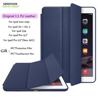 "Wholesale Original Green Coffee - Cover For iPad 9.7""2017 Air 2 Mini 4 Pro 10.5"" Pro 12.9"",Original 1:1 Ultra Slim Stand Smart PU Leather Cases For iPad 6 Auto Wake Sleep"