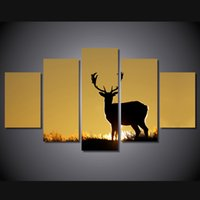 5 pz / set cornice HD stampato Tramonto Prairie Deer Paesaggio Wall Art Canvas Stampa Poster Canvas Pictures Pittura moderna
