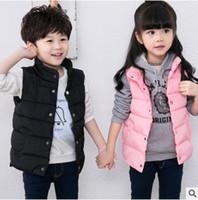 Wholesale Eiderdown Coat - Kids waistcoat fashion 2017 autumn new boys girls eiderdown cotton vest outwear children warm winter coat girls princess tops T4631