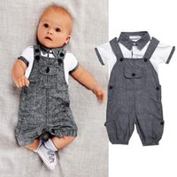 Wholesale Babies Clothes Shops - 2017 new Children boys gentleman outfits cotton top+Suspenders 2pcs set baby casual Clothing Sets free shopping
