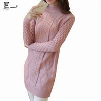 Wholesale white sweater dress turtleneck - Wholesale- 5 Colors Autumn And Winter Long Top Outerwear Fashion Women Warm Casual Black Purple Pink Gray White Turtleneck Dress Sweater