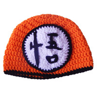 Wholesale Knitted Crochet Baby Character Hats - Novetly Character Hat,Handmade Knit Crochet Baby Boy Girl Orange Dragon Ball Z Hat,Son Gohan Beanie,Infant Toddler Photo Props