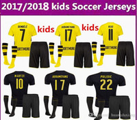 Wholesale Borussia Shirt - 2017 2018 children + socks Borussia Dortmund REUS kids jerseys 17 18 AUBAMEYANG GOTZE PULISIC home children football shirt soccer jersey
