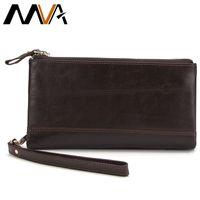 Wholesale Double Passport Wallet - Wholesale- MVA Genuine Leather Wallet Men Clutch Solid Bag Male Wallets Clutch Purse Double Zipper Men Wallets Long Card Holder Purse