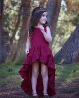 Wholesale Dovetail Dresses - Retail Ins 2017 Summer New Girl Debutante Dress Wine Red Bohemia Sleeveless Dovetail Sundress Children Clothing 1-4Y 17708