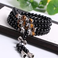 Wholesale crystal mala - Wholesale- Fashion Black Color Tiger Eye Crystal Tibet Buddhist Buddha Meditation 108 Prayer Bead Mala Bracelet Necklace Hot Sale