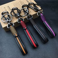 Wholesale lexus leather key - Handmade Leather Black Car Keychain Home Key Ring Man and Woman Waist Hanging Key Chains For Audi BMW Volvo Lexus KIA Toyota