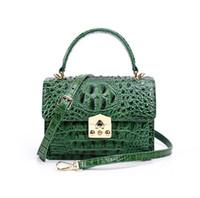 echtes krokodil-handtasche grün großhandel-Hochwertige 2019 Neue Frauen Aligator Messenger Crossbody Echtes Leder Taschen Edle Klappe Schulter Handtasche Dame Grün Schwarz Crocodile Bag Q0776