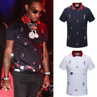 Wholesale men ribs - Plus 3XL Size Multi Embroidery Polo Shirts Man Fashion Design Ribbed Sleeves Split Hem Stretch Polos Top Male