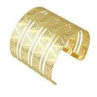Wholesale Wide Silver Bangles - Indian Design Gold Silver Color Wide Cuff Bracelets Bangles